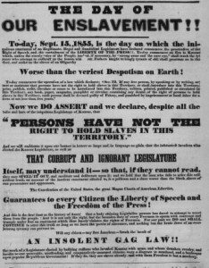 1855 Free-State poster in Kansas Territory, calling for action against slavery supporters and slavery-supporting laws (Wikipedia)